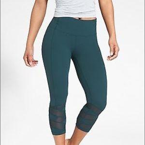 Athleta mandra teal mesh crop leggings M tall